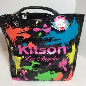Kitson LA paint splatter sequin vinyl tote NWT